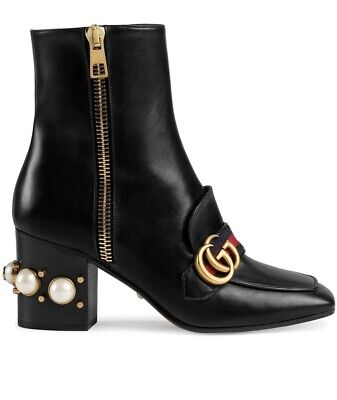 Gucci Leather Mid-heel Ankle Boot For Women Size 37 • 698£