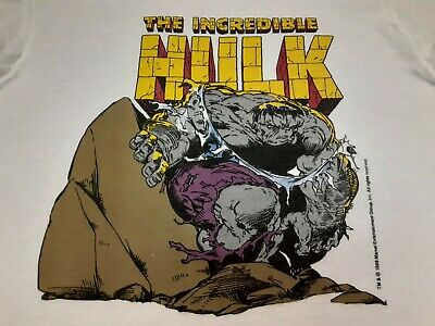 VTG 80s 1988 Marvel Comics THE INCREDIBLE HULK Single Stitch T Shirt WHT Medium • 36.18£