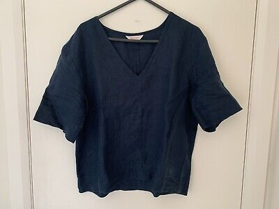 AU20 • Buy Gorman Navy Linen Top Sz S