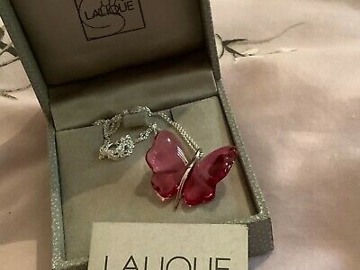 Lalique Pretty Magenta Butterfly And Hallmarked Silver Pendant - New • 135£
