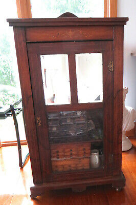 AU300 • Buy Antique Music Cabinet Cupboard Inlaid Rosewood Shelves Beautiful Useful Vgc