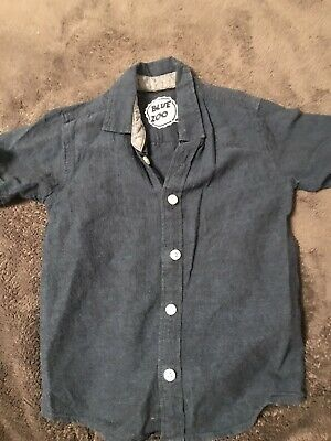 Boys Blue Zoo Navy Short Sleeved Shirt Age 5years  • 0.99£