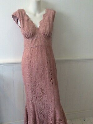 $ CDN26.53 • Buy Ariella Pink Lace Long Maxi Dress Special Occasion, Party, Wedding Size Uk 10