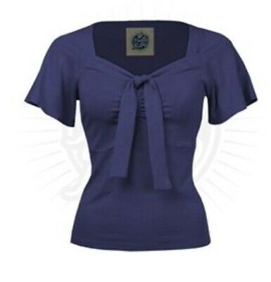 Pretty Retro Size S Women's Navy Blue Top With Front Tie • 0.99£
