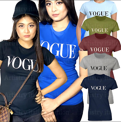 T-Shirt Ladies Women Cotton Casual Short Sleeve Vest Blouse Vogue Slogan Top Tee • 5.99£