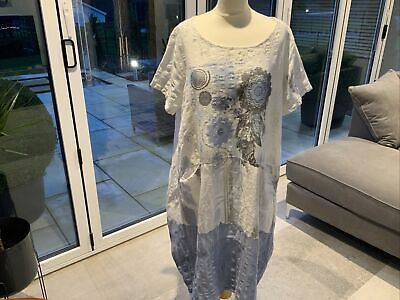 Made In Italy 18/20 Linen/cotton Lagenlook Dress New Without Tags • 8£