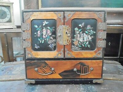 Vintage Japanese Inlaid Wooden Table Top Cabinet. 6 Interior & 1 Base Drawer. • 47£