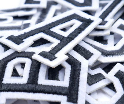 £0.99 • Buy Black Letter Patch Patches Iron On / Sew On Retro Alphabet Embroidered Letters