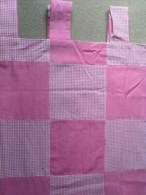 Tab Top Curtains Pink Gingham Checkerboard Pair Patterned Lined • 20£