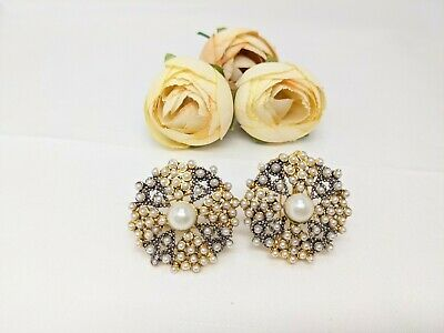 £6.20 • Buy Indian Pakistani Bollywood Oxidised Gold Stud Earrings With Pearls.