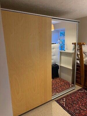 Large Ikea Birch Komplement Double Wardrobe With Built In Drawers And Mirror • 0.99£