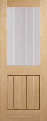 £219.99 • Buy Oak Clear Glazed With Frosted Lines Internal Interior Glass Wooden Panel Door