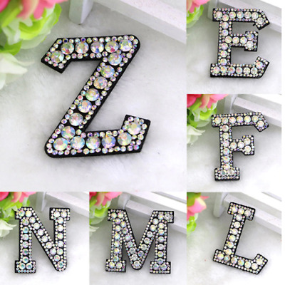 £1.29 • Buy Rhinestone Letter Patches Sew On Iron On Alphabet Patch Letters Embroidered A-Z