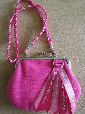 Lacoste Touch Of Pink Small Canvas Purse Satin Plaited Handle, Lining & Ribbons • 2.95£