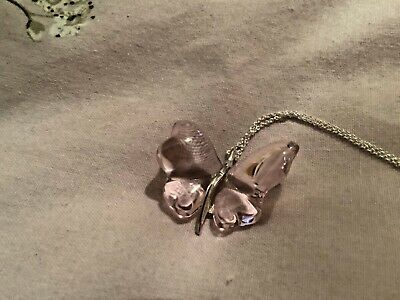 Lalique Pink  Butterfly And Hallmarked Silver Pendant - New • 125£