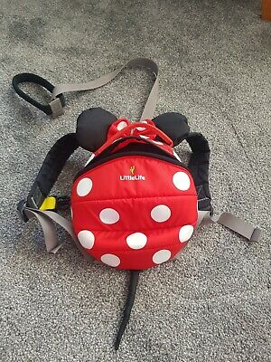 LittleLife Red Minnie Mouse Ladybird Toddler Backpack Walking Reins • 5£