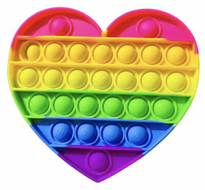 AU13.90 • Buy FIDGET RAINBOW HEART GIANT POP It's FIDGET Bubble Sensory Toy Autism SQUISHY
