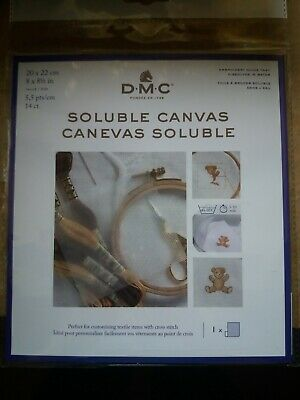 £4.50 • Buy PACK OF DMC 14 COUNT SOLUBLE CANVAS 8 X 8½ Inch 20 X 22cm TRANSPARENT DC90