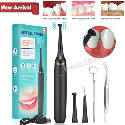 Electric Dental Scaler Calculus Tartar Plaque Remover Kit Teeth Stains Cleaner • 15.98£
