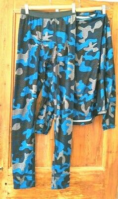 Kids Boys Core Base Layer Top + Trousers Blue Skiing Walking Age 12-14 Yrs • 14£