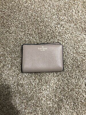 $ CDN78 • Buy Kate Spade Small Pebbled Leather Wallet Cement Gray Black