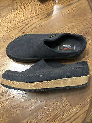 Haflinger Mens GRIZZLY Charcoal Gray Wool Clogs Slippers Sz 43 / US 10 • 41.85£