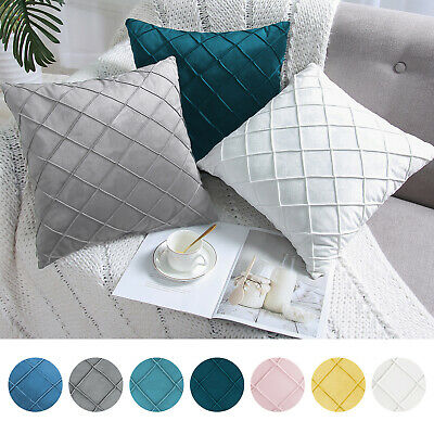 Cushion Cover Faux Suede Throw Pillow Cushion Case Soft Plaid Modern Home Decor • 5.19£