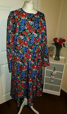 Women's Dress St Michael Black Mix Floral Vintage Dress UK 24 EUR 54 • 34.99£