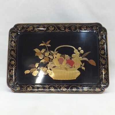 A765: Real Old Japanese Lacquer Ware Tray With Wonderful MAKIE Of Flower Basket • 71.52£