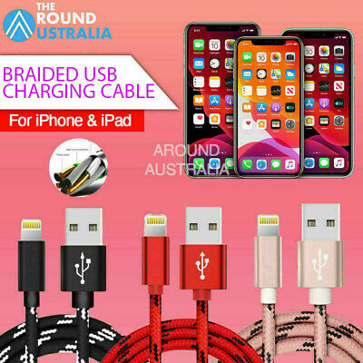 AU6.29 • Buy 1M 2M 3M Braided USB Charging Cable Charger For IPhone 12 Pro XS Max SE 7 8 IPad
