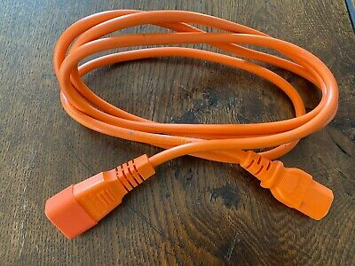 2m Power Extension Cable IEC Kettle Male To Female UPS Lead C13 - C14 Orange • 1£