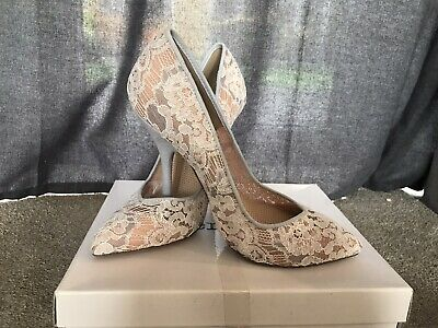 Ladies Shoes Size 5, White Lace, Blue Heel, Wedding, Party • 9£
