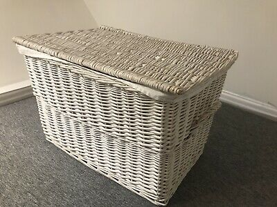 Large White Wicker Linen Laundry Basket With Lid & Lining Bedroom Storage ZARA • 5.69£