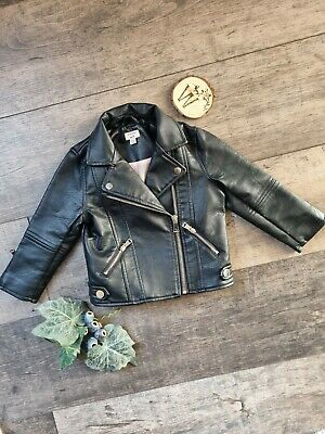 Baby Girls River Island Biker Jacket Faux Leather 9-12mths  • 6£