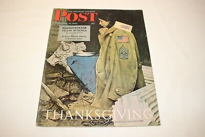 $ CDN32.11 • Buy Saturday Evening Post November 27, 1943 NORMAN ROCKWELL Cover  THANKSGIVING