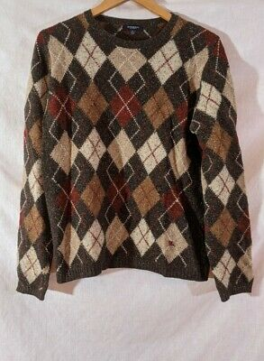 $67 • Buy BURBERRY LONDON MENS Small SWEATER ARGYLE Marled Style Wool Silk Blend