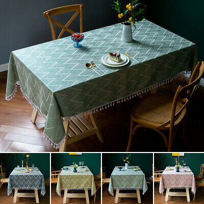 AU34.75 • Buy Cotton Linen Tablecloth Wave Printed Table Cover Cloth Dining Desk Home Decor