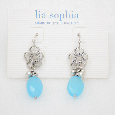 $ CDN8.87 • Buy Lia Sophia Jewelry Antique Silver Plated Blue Beads Flower Drop Dangle Earrings