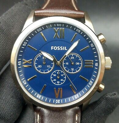 $ CDN44.19 • Buy New Old Stock - FOSSIL BQ2095 - Chronograph Navy Dial Dk Brown Leather Men Watch
