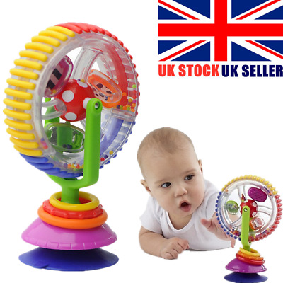 Toddler Rainbow Ferris Wheel Baby Toy Rattle Clanking Suction High Chair Toys UK • 6.99£