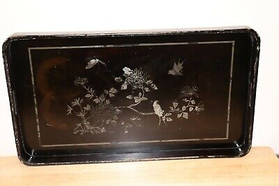Vintage Japanese Black Lacquer And Silver Tray • 4.99£