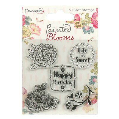 Trimcraft DOVECRAFT Clear Stamps Set ~ PAINTED BLOOMS Happy Birthday (5 Pieces) • 2.99£