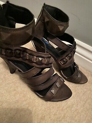 Womens Shoes River Island Heel Sandals Brown Gladiator Size 6 • 5£