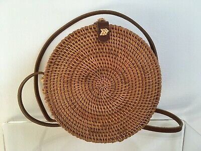 NEW Round Wicker Straw Basket Circle Natural Tan Leather Cross Body Shoulder Bag • 15.99£
