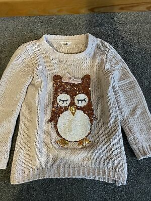 Girls Sequin Owl Sparkly Knitted Jumper Pink Silver 5-6 Years M&Co • 2.90£