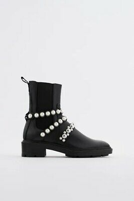 £25 • Buy ZARA FLATFORM LEATHER ANKLE BOOTS WITH FAUX PEARL STRAPS Size 8