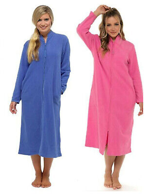 £22.99 • Buy Lady Olga Zip Front Soft Fleece Long Dressing Gown Robe Sizes 10 To 24