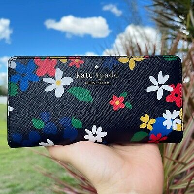 $ CDN74.49 • Buy Kate Spade Staci Cameron Sailing Floral Large Slim Bifold Wallet Black Multi