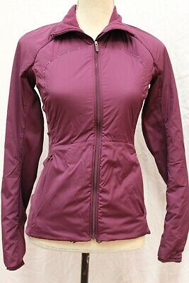 $ CDN63.30 • Buy Lululemon Run For Cold Jacket Zip Front Side Stretch Panel Coat 4 S Small