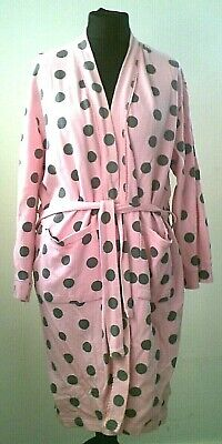 Avenue Pink Black Polka Dot 100% Cotton Waffle Dressing Gown Size M • 4.99£